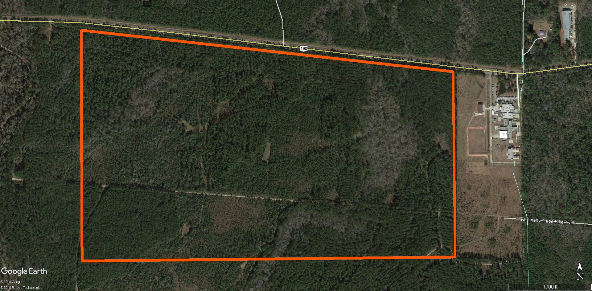 Aerial showing boundary of 258 acre parcel