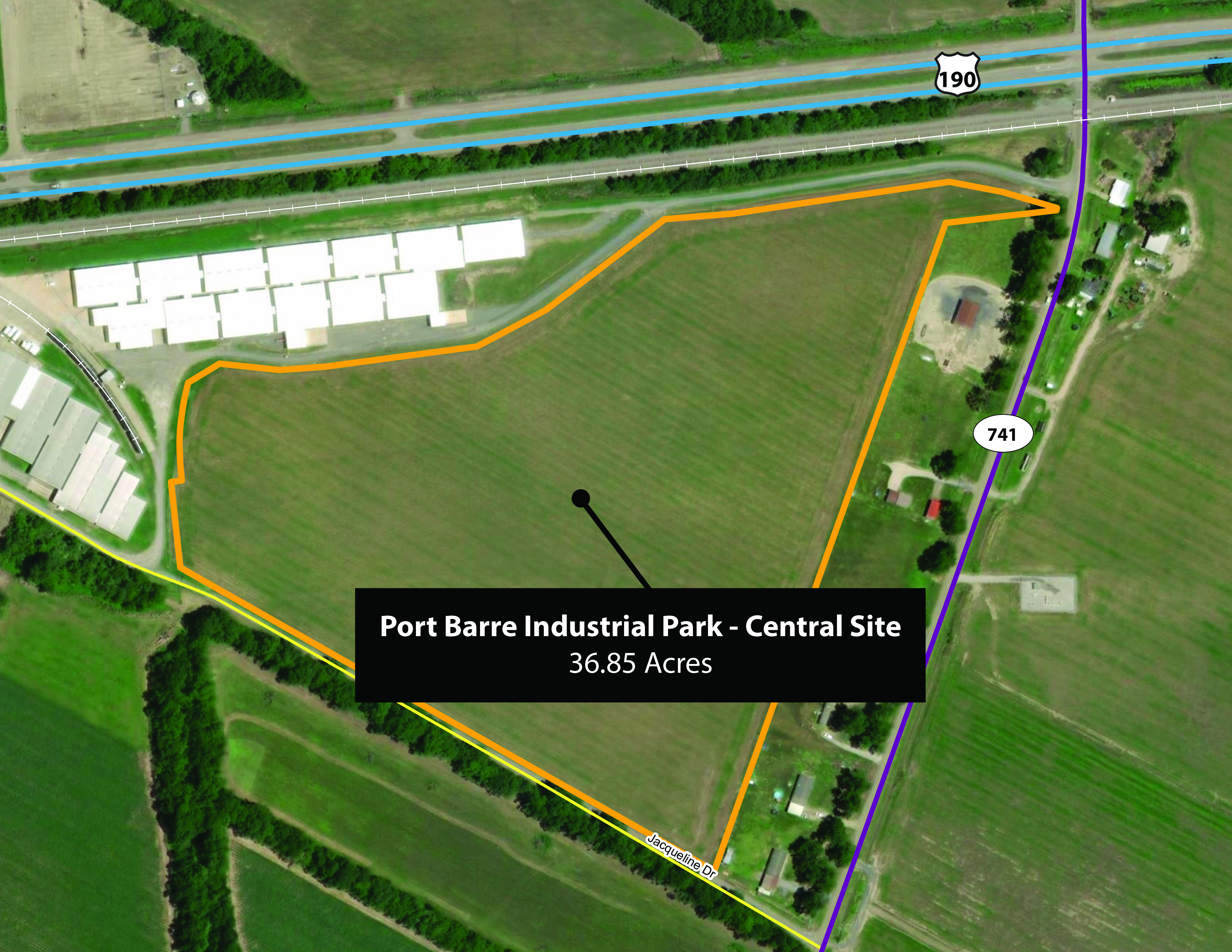 Port Barre Industrial Park - Central Site Aerial Map